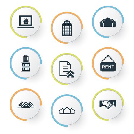 Ilustração vetorial conjunto de ícones de propriedade simples. Parceria de elementos, 3 caixas, informações de locação e outros sinônimos, placa, aluguel e residencial. Foto de archivo - 86554130