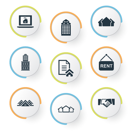Vector Illustration Set Of Simple Property Icons. Elements Partnership, 3 Housings, Lease Information And Other Synonyms Board, Lease And Residential.