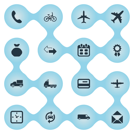 Vector illustratie Set van eenvoudige levering iconen. Elementen Online transactie, Express Carriage, Watch en andere synoniemenbank, levering en industrie.
