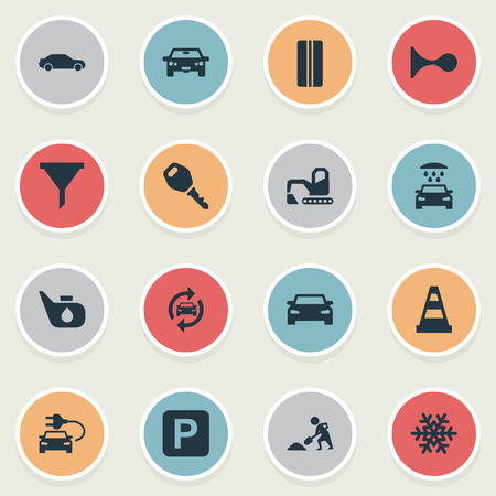 Vector Illustration Set Of Simple Car Icons. Elements Grease, Filter, Wheel And Other Synonyms Worker, Digger And Bulldozer.