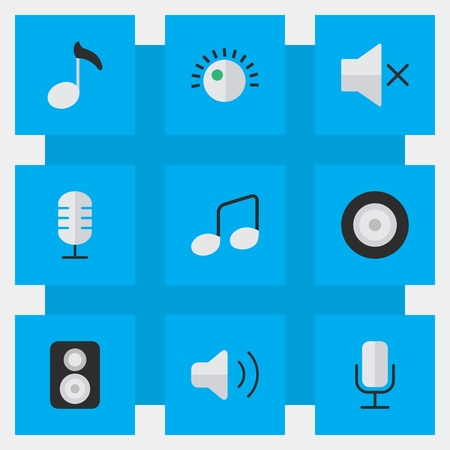 Vector Illustration Set Of Simple Melody Icons. Elements Record, Speaker, Loudspeaker And Other Synonyms Loudness, Control And Music.