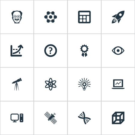 Vector Illustration Set Of Simple Knowledge Icons. Elements Administration, Square, Telescope And Other Synonyms Attendant, Scholar And Administration.