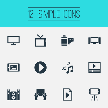 Vector Illustration Set Of Simple Multi Icons. Elements Cellphone, Document, Touchscreen And Other Synonyms Display, Start And Image.
