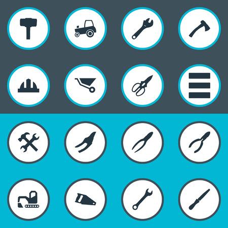 벡터 일러스트 레이 션 간단한 아키텍처 아이콘의 집합입니다. 요소 작업, 워크샵, Nippers 및 기타 동의어 도끼, Nippers 및 조정.