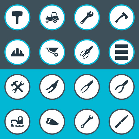 Vector Illustration Set Of Simple Architecture Icons. Elements Task, Workshop, Nippers And Other Synonyms Axe, Nippers And Adjustable.