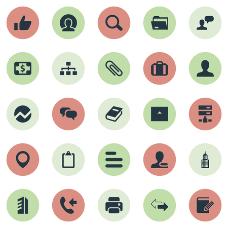 Vector Illustration Set Of Simple Company Icons. Elements Good, Printing Machine, Relationship And Other Synonyms Statistics, Pin And List.