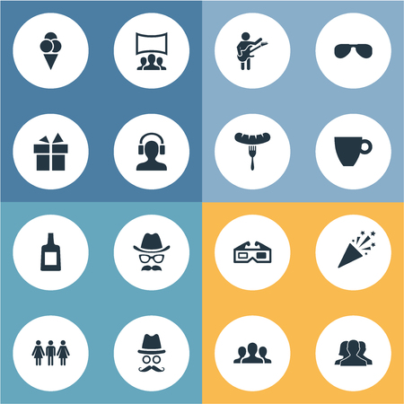 Vector Illustration Set Of Simple Celebration Icons. Elements Mask, Spectacles, Alcohol And Other Synonyms Popper, Glasses And Gift.