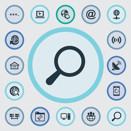 Vector Illustration Set Of Simple Internet Icons. Elements Magnifier, Loading, Data Center And Other Synonyms Click, Database And Symbol.