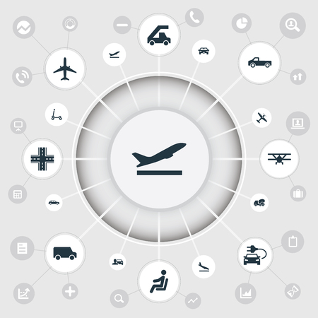 Vector Illustration Set Of Simple Shipment Icons. Elements Ladder Carrier, Van, Flight And Other Synonyms Vehicle, Downgrade And Concrete. Illustration