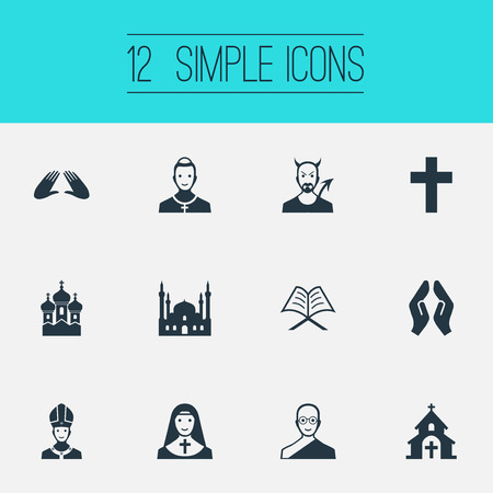 Vector Illustration Set Of Simple Religion Icons. Elements Pontiff, Christian, Devil And Other Synonyms Demon, Mosque And Pope.