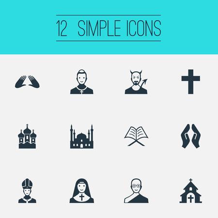 Vectorillustratiereeks Eenvoudige Godsdienstpictogrammen. Elementen paus, christen, duivel en andere synoniemen demon, moskee en paus.