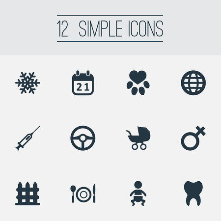 Vector Illustration Set Of Simple House Icons. Elements Baby, Earth, Silverware And Other Synonyms Tooth, Buggy And Spoon.