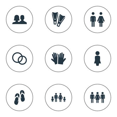 Ilustración vectorial Conjunto de iconos amados simples. Elementos Compañeros, Candidato, Guante Sinónimos Gente, Mujer Y Buceo. Foto de archivo - 87407209