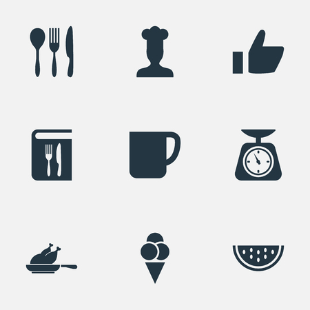 Vector Illustration Set Of Simple Food Icons. Elements Summer Fruit, Chef, Weighing And Other Synonyms Mug, Copybook And Dishware. Иллюстрация