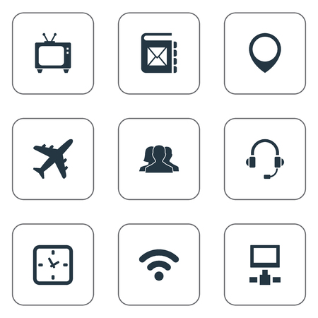 round: Vector Illustration Set Of Simple Network Icons. Elements Position, Watch, Aircraft And Other Synonyms Television, Timer And Unity. Illustration