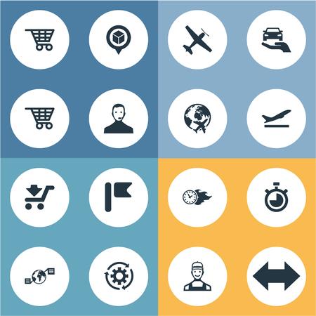 벡터 일러스트 레이 션 간단한 Systematization 아이콘의 집합입니다. 요소 택배, 카운트 다운, 정밀 및 기타 동의어 측정, 가방 및 자동차.