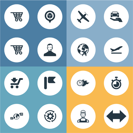 Vector Illustration Set Of Simple Systematization Icons. Elements Courier, Countdown, Pinpoint And Other Synonyms Measure, Bag And Car.