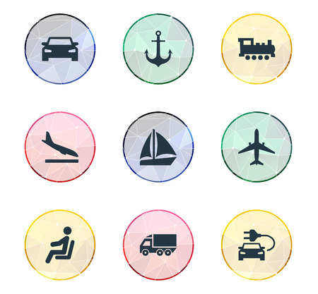 Vector Illustration Set Of Simple Transportation Icons. Elements Motor Lorry, Steam Train, Sailing And Other Synonyms Car, Driver And Airplane.