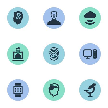 Vector illustratie Set van eenvoudige creatieve pictogrammen. Unieke sleutelelementen, Scholar, Smart Watch en andere synoniemen Cloud, apparaat en internet.