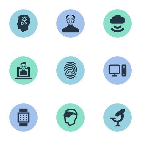 Vector Illustration Set Of Simple Creative Icons. Elements Unique Key, Scholar, Smart Watch And Other Synonyms Cloud, Device And Internet.