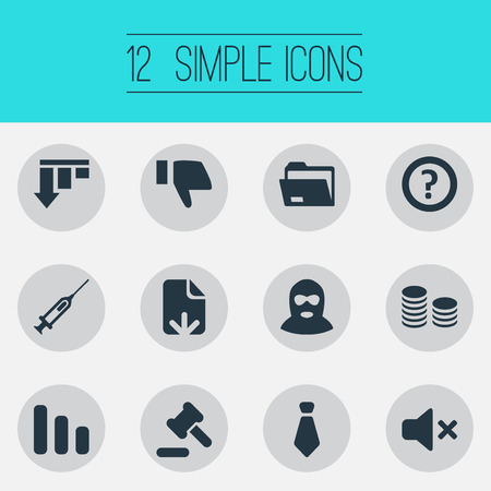 Vector Illustration Set Of Simple Trouble Icons. Elements Mafia, Dress-Code, Bar Graph And Other Synonyms Balaclava, Shot And Injection.