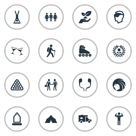 Vector Illustration Set Of Simple Yoga Icons. Elements Man Standing On Hands, Backpacker, Celebration Synonyms Virtual, Club And Climbing. Illustration