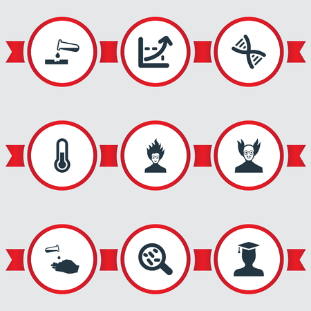 Vector Illustration Set Of Simple Knowledge Icons. Elements Mad Scientist, Bacterium, Student And Other Synonyms Scale, Hand And Seeding. Illustration