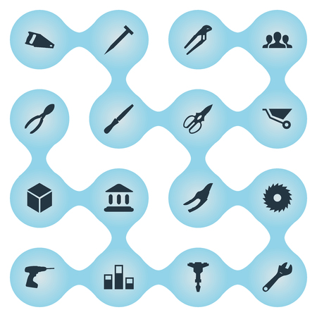 round: Vector Illustration Set Of Simple Work Icons. Elements Parcel, Statistics, Clippers And Other Synonyms Cutters, Columns And Fretsaw. Illustration
