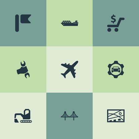 벡터 일러스트 레이 션 간단한 도시 아이콘의 집합입니다. 요소 도시 계획, 항공, 골든 게이트 및 기타 동의어 페넌트, 항공 및 공항.