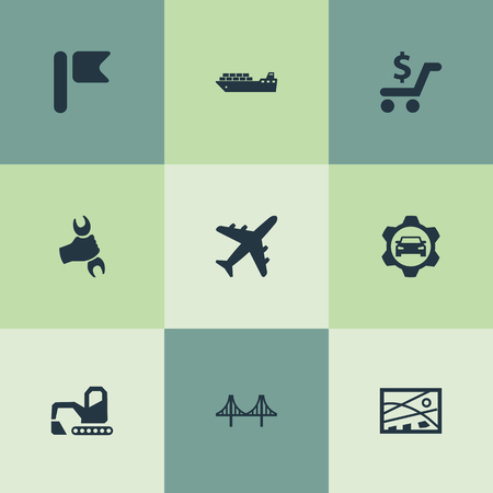 Vector Illustration Set Of Simple City Icons. Elements City Plan, Aviation, Golden Gate And Other Synonyms Pennant, Aviation And Airport. 向量圖像