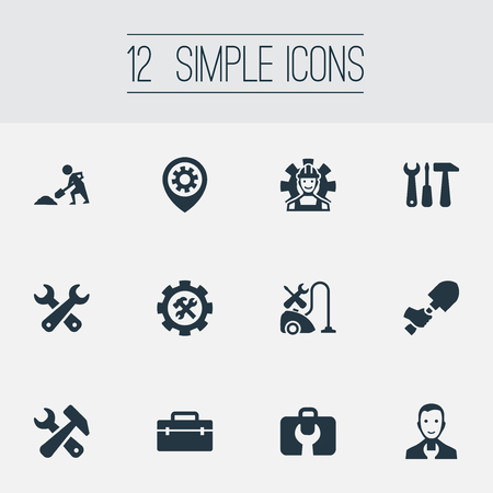 Vector Illustration Set Of Simple  Icons. Elements Tools, Mechanic, Toolbox And Other Synonyms Craftsman, Service And Workshop.