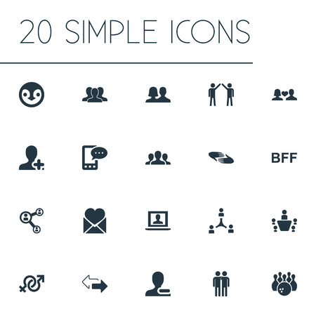 Vector Illustration Set Of Simple Friends Icons. Elements Charity, Partner, Enamored And Other Synonyms Crowd, Group And Couple. Illusztráció