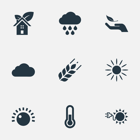 Vector Illustration Set Of Simple Power Icons. Elements Volume, Wheat, Cloudburst And Other Synonyms Overcast, Rain And Sun.