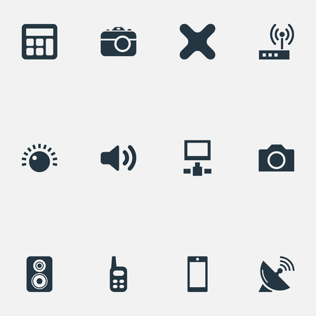 Vector Illustration Set Of Simple Gadget Icons. Elements Talkie, Switch, Adding Device And Other Synonyms Antenna, Adding And Phone.