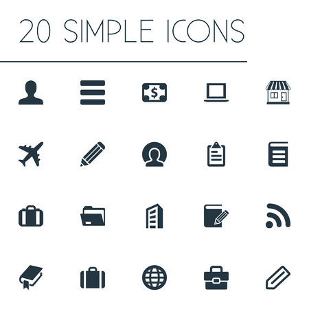Vector Illustration Set Of Simple Partnership Icons. Elements Computer, Store, Signal And Other Synonyms Stationary, List And File.