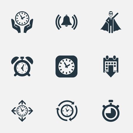 Vector Illustration Set Of Simple Management Icons. Elements Clock, Direction, Date Block And Other Synonyms Reminder, Bell And Compatibility.