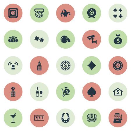 Illustration vectorielle définie des icônes de jeu simples. Éléments Addiction, Machine à sous, Musique vinyle et autres synonymes 777, Bet And Dice. Banque d'images - 87407226