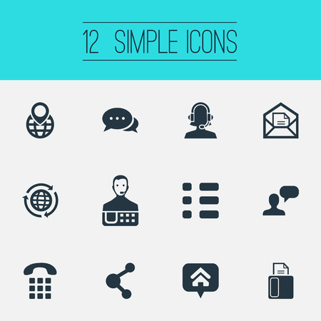 Vector Illustration Set Of Simple Communication Icons. Elements Location, Dialogue, Talk And Other Synonyms Wish, Handset And International.
