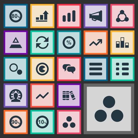 簡単な統計のアイコンのベクトル イラスト セット。要素構造、メガホン、コンポーネントと他の類義語更新 90 と国際。