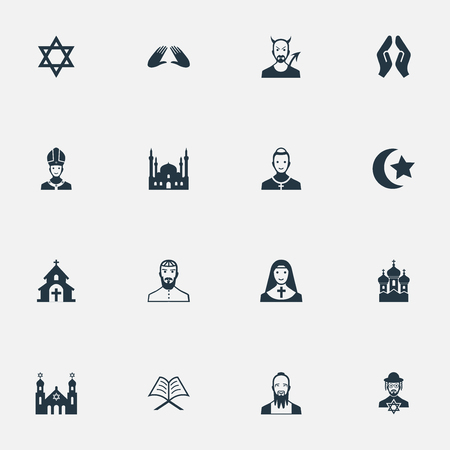 Vector Illustration Set Of Simple Faith Icons. Elements Clergyman, Devil, Mohammedanism And Other Synonyms Church, Lucifer And Judaic.