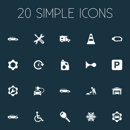 Vector Illustration Set Of Simple Auto Icons. Elements Fuel, Handicapped, Automobile Synonyms Lock, Oil And Antifreeze. Illustration