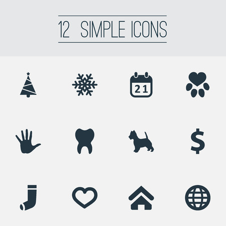 Vector Illustration Set Of Simple Colony Icons. Elements Love, Footprint, Hosiery And Other Synonyms Pet, Money And Earth. Illustration