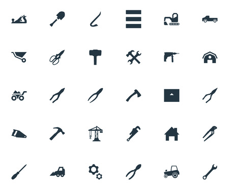 round: Vector Illustration Set Of Simple Construction Icons. Elements Hoisting Machine, Hammer, Loaded Trolley And Other Synonyms Gears, Wrench And Property.