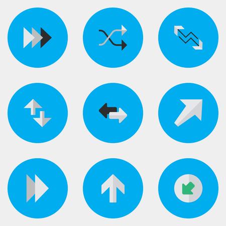 単純なカーソル アイコンのベクター イラスト セット。要素の矢印、カオス、上向きに、他の同義語シャッフル、次へ、インターネット。