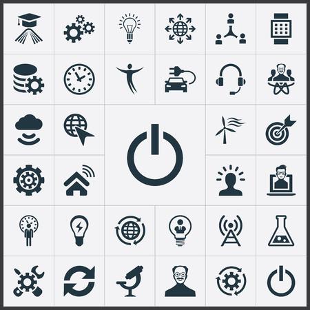 벡터 일러스트 레이 션 간단한 발명 아이콘의 집합입니다. 요소 광학 기기, 방송, 변경 및 기타 동의어 물리학 자, 다시로드 및 플라스크.