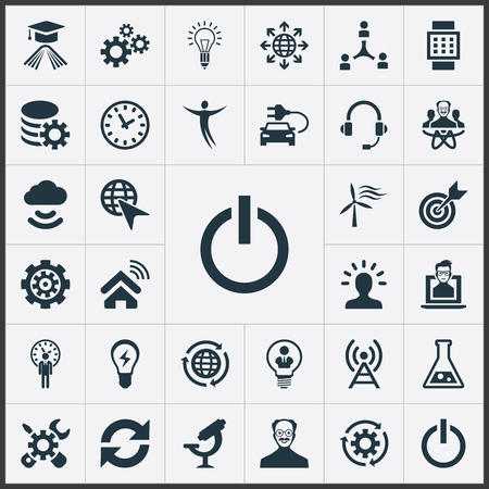 Vector Illustration Set Of Simple Invention Icons. Elements Optical Instrument, Broadcast, Change And Other Synonyms Physicist, Reload And Flask.