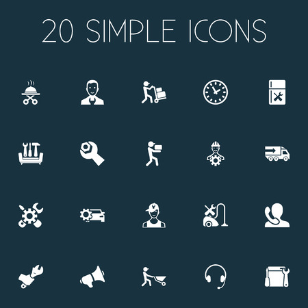 Vector Illustration Set Of Simple Help Icons. Elements Servant, Earmuff, Appliances Repair And Other Synonyms Courier, Settings And Megaphone. Illustration