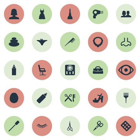 Vector Illustration Set Of Simple Spa Icons. Elements Barber Tool, Hairstyle, Style And Other Synonyms Sence, Drug And Dropper.