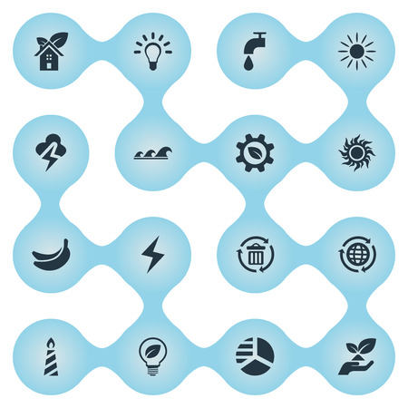 Vector Illustration Set Of Simple Power Icons. Elements Tropical Fruit, Bulb, Storm And Other Synonyms Solar, Greenhouse And Home.
