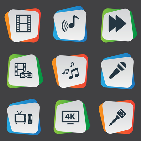 Vector Illustration Set Of Simple Media Icons. Elements Mike, Tv, Spectacles And Other Synonyms Karaoke, Rewind And Crotchets.